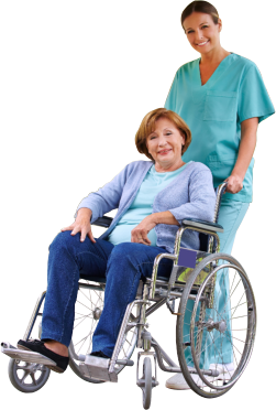 medical staff assisting her patient in wheelchair
