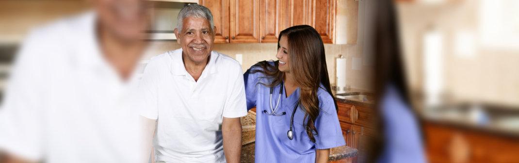 caregiver and an elderly man